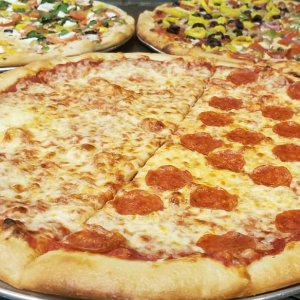 Close up view of a pizza